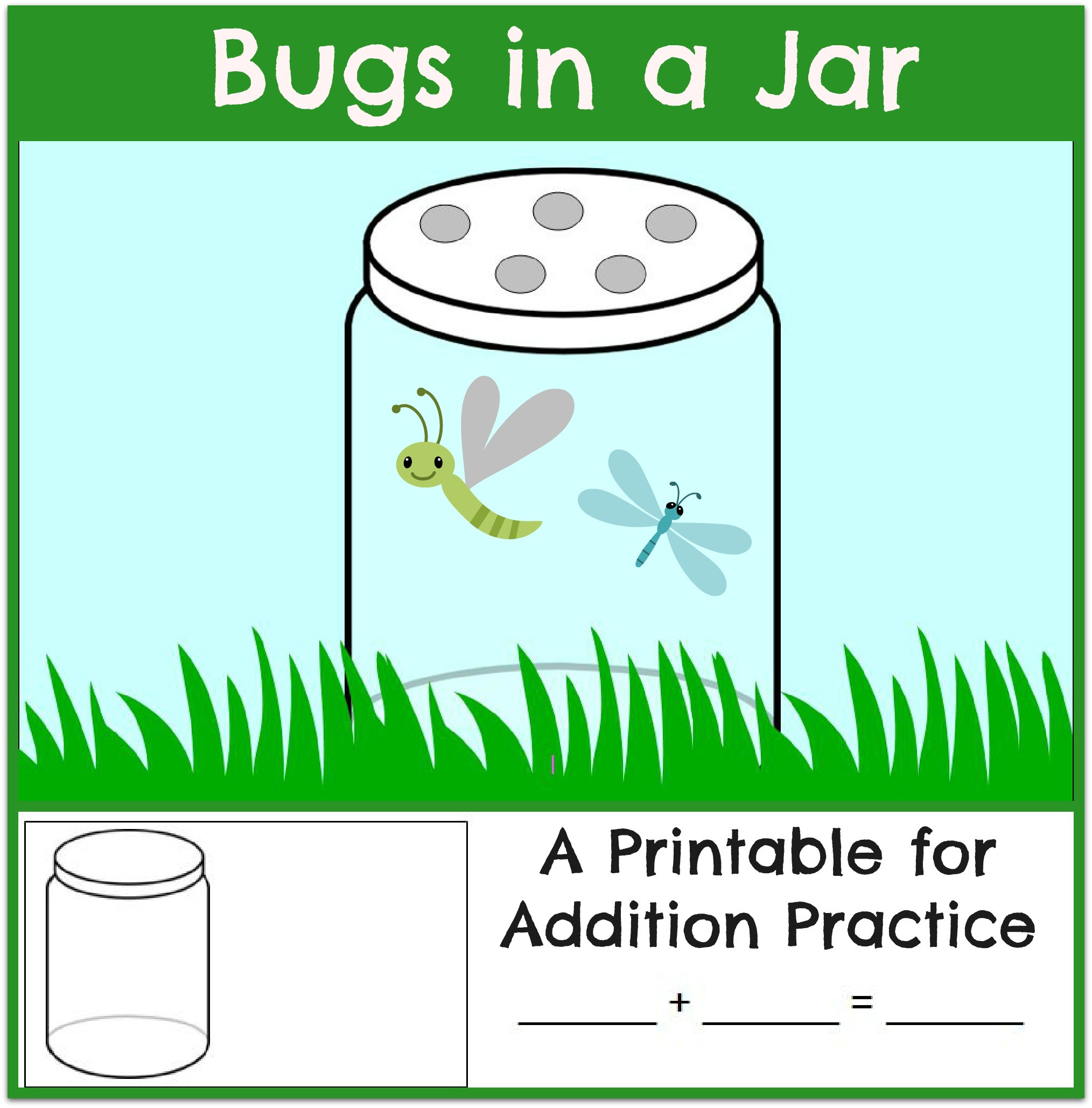 Insect Worksheets for First Grade Bugs In A Jar Addition Worksheet the Measured Mom