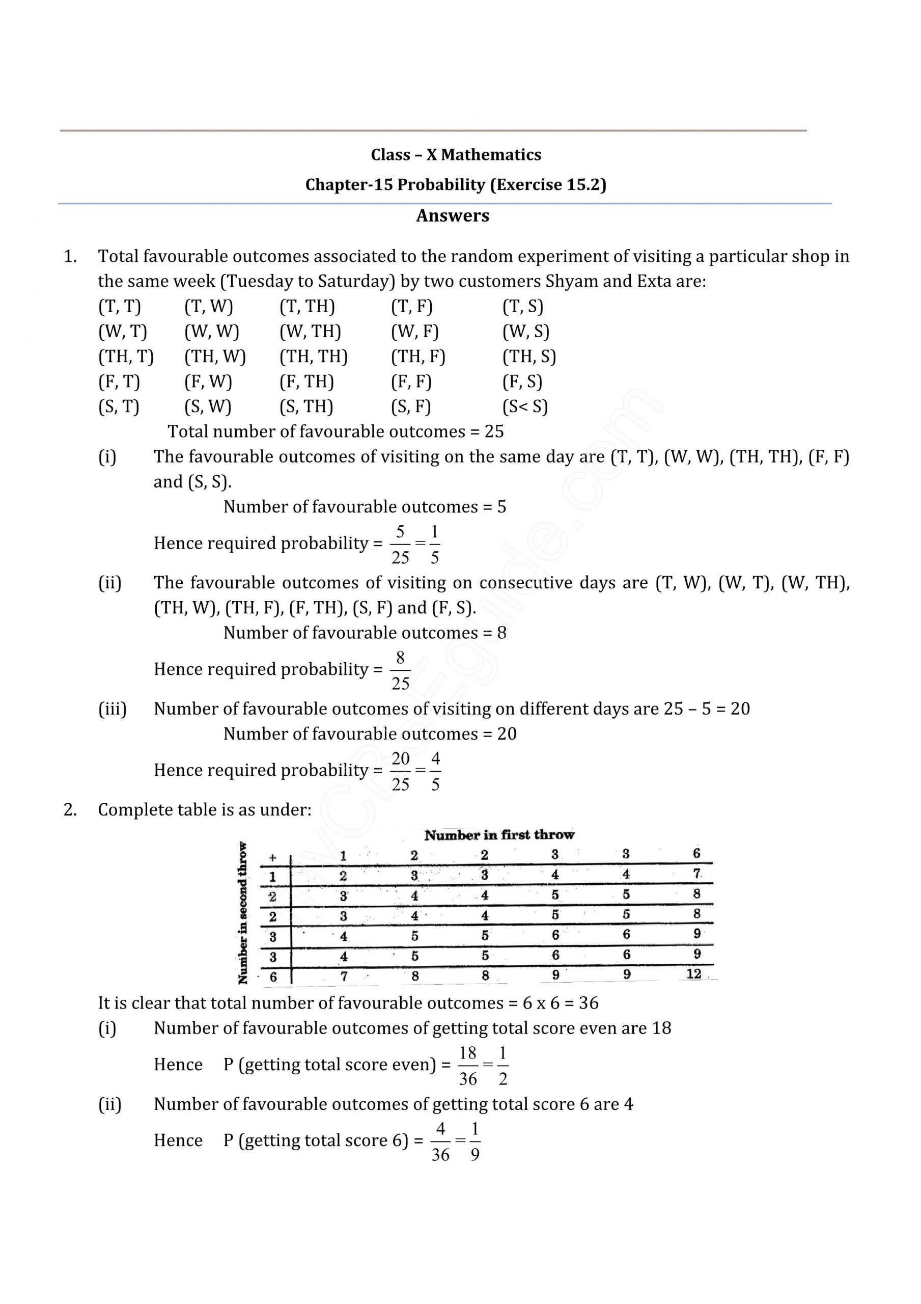 Iread 3 Practice Worksheets Cbse 10 Probability Exercise 15 2
