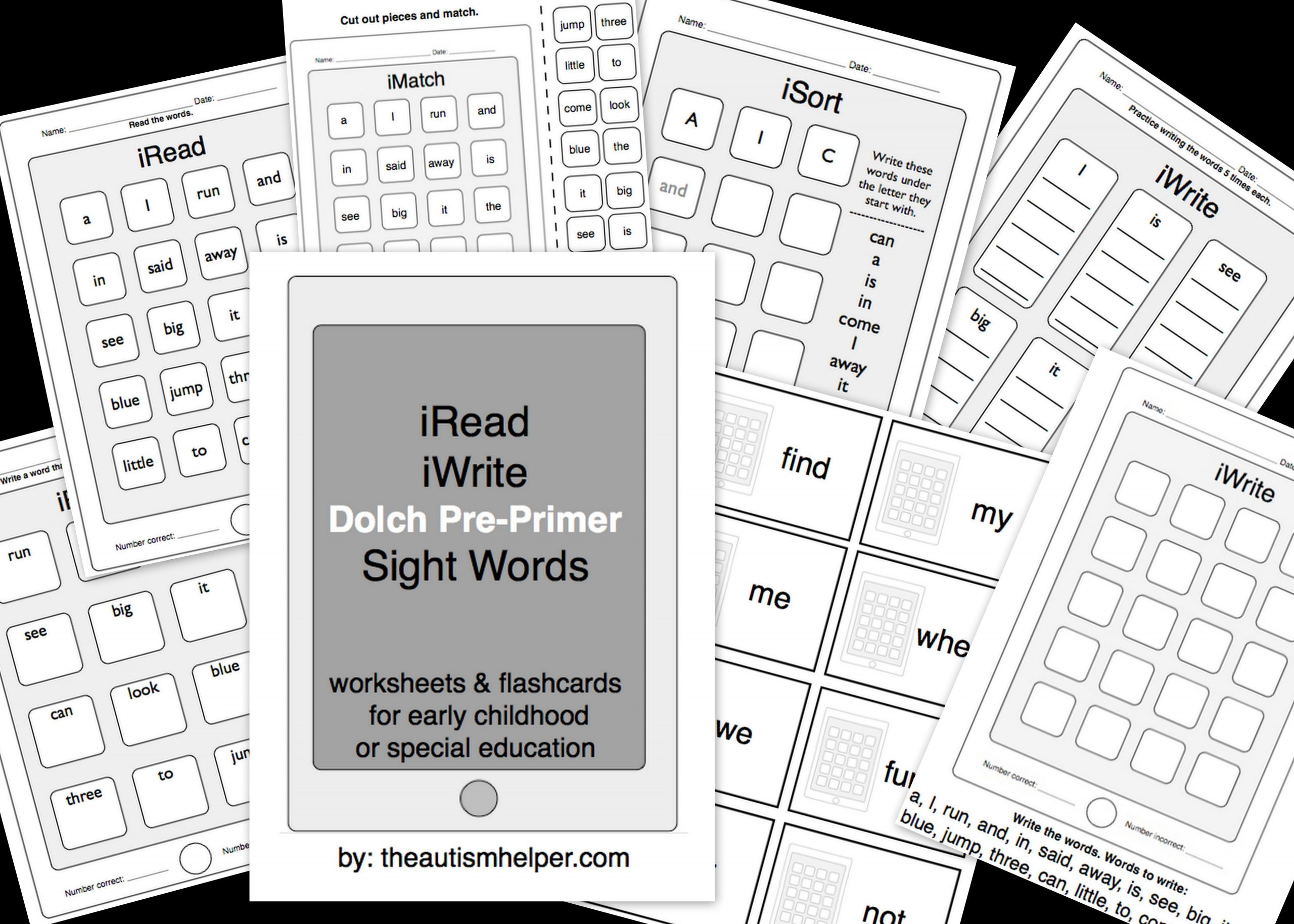 Iread 3 Practice Worksheets Iread Dolch Pre Primer Sight Words Worksheets & Flashcards