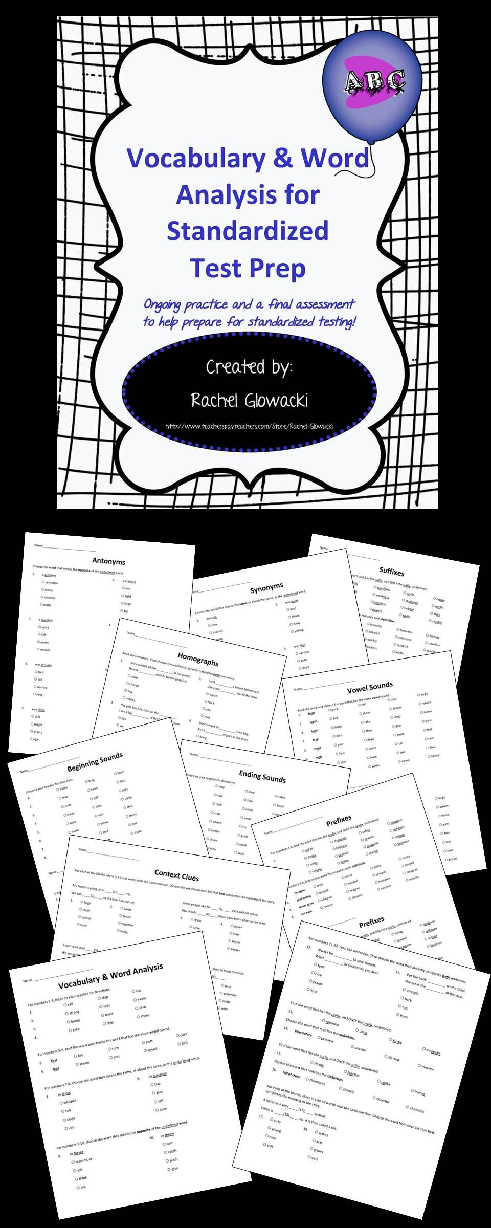Iread 3 Practice Worksheets Vocabulary & Word Analysis for Standardized Test Prep