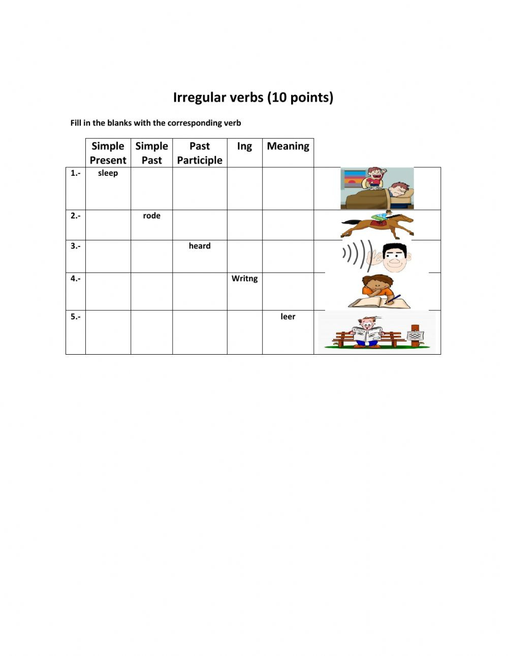 Irregular Verbs Worksheet 2nd Grade Irregular Verbs Interactive Worksheet