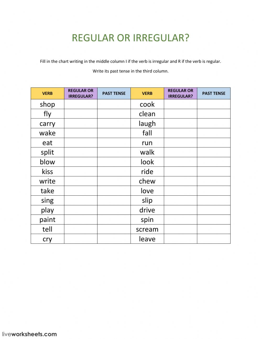 Irregular Verbs Worksheet 2nd Grade Regular or Irregular Verbs Interactive Worksheet