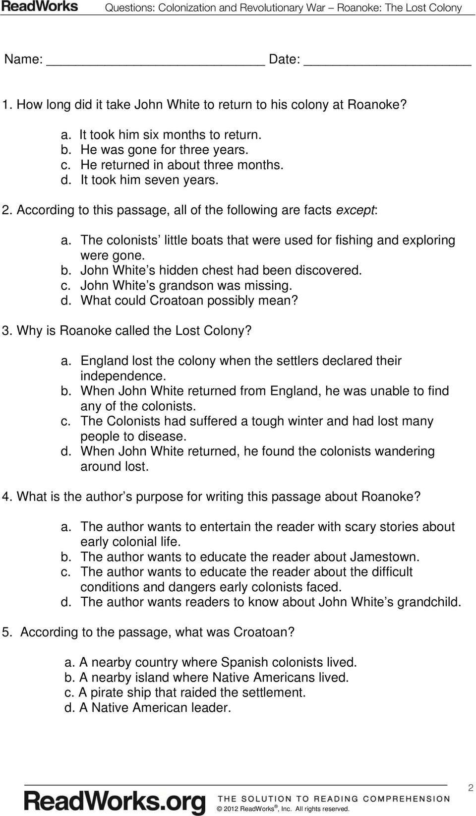 Jamestown Colony Worksheet 5th Grade Colonization and Revolutionary War Roanoke the Lost Colony