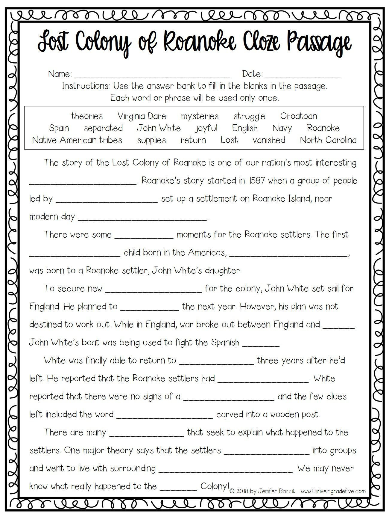 Jamestown Colony Worksheet 5th Grade Lost Colony Of Roanoke Activity Free