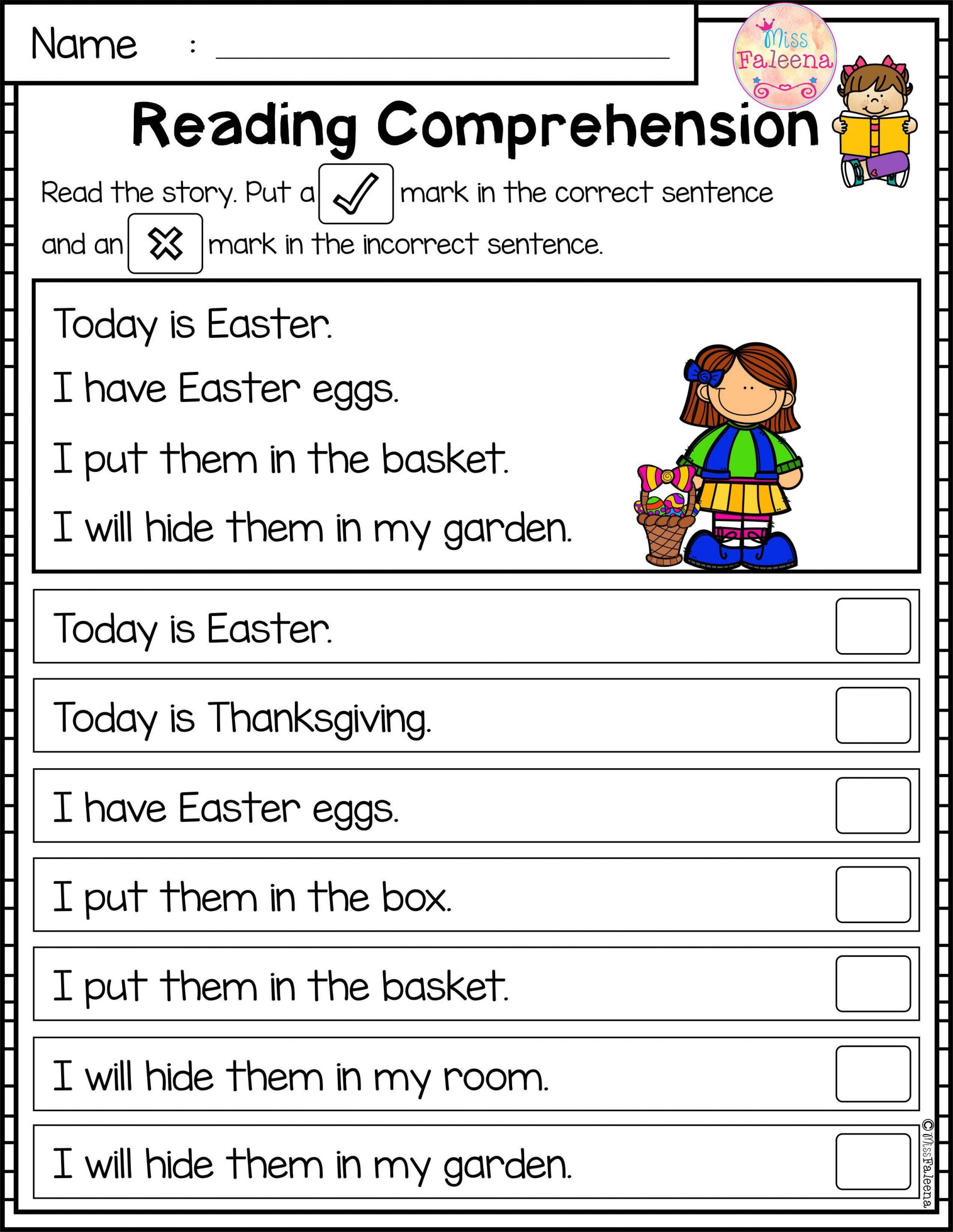 Kinder Reading Comprehension Worksheets April Reading Prehension Passages