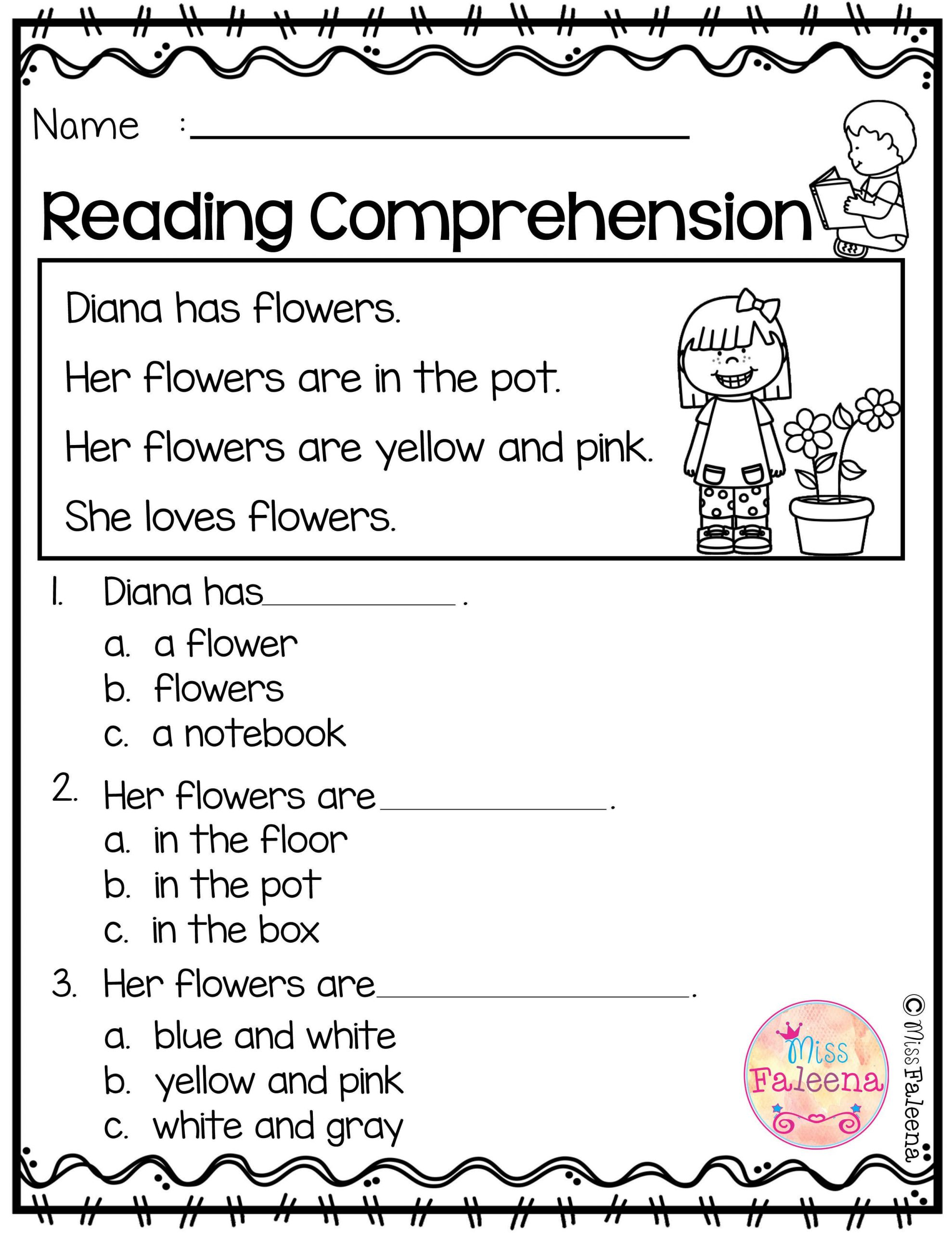Kinder Reading Comprehension Worksheets Free Reading Prehension