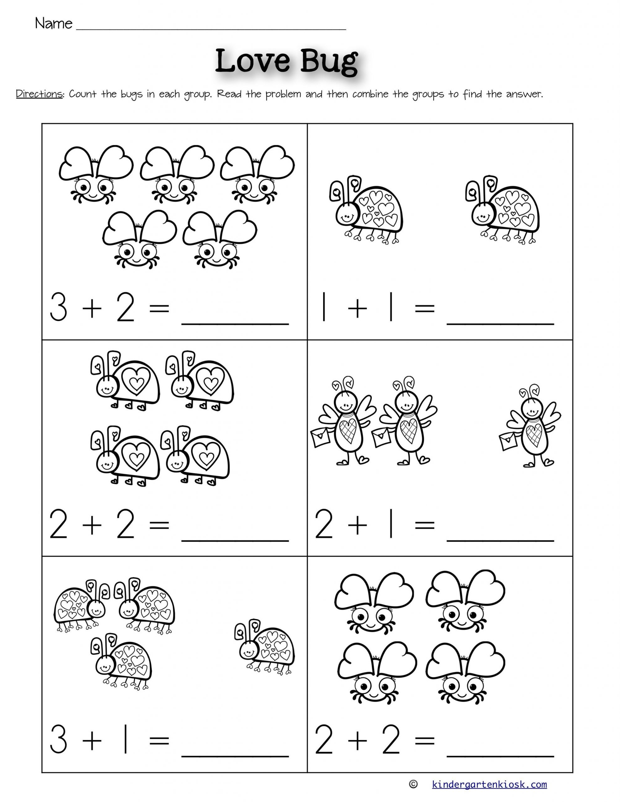 Kindergarten Math Worksheet Addition Addition 0 5 Worksheets February In 2020