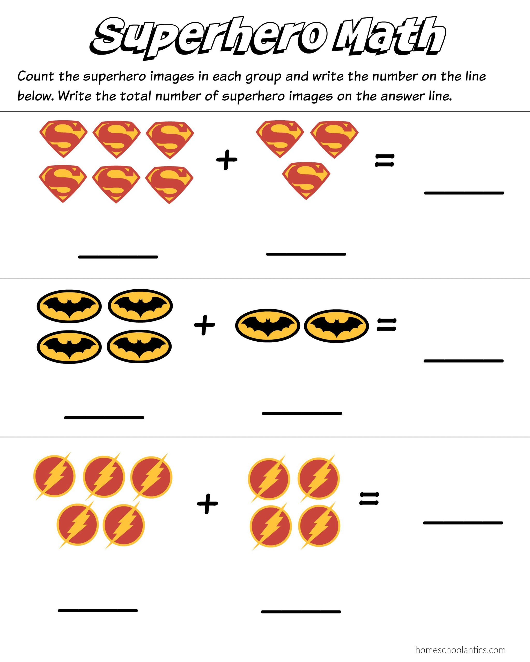Kindergarten Math Worksheet Addition Superhero Math Kindergarten Addition Worksheet Printables