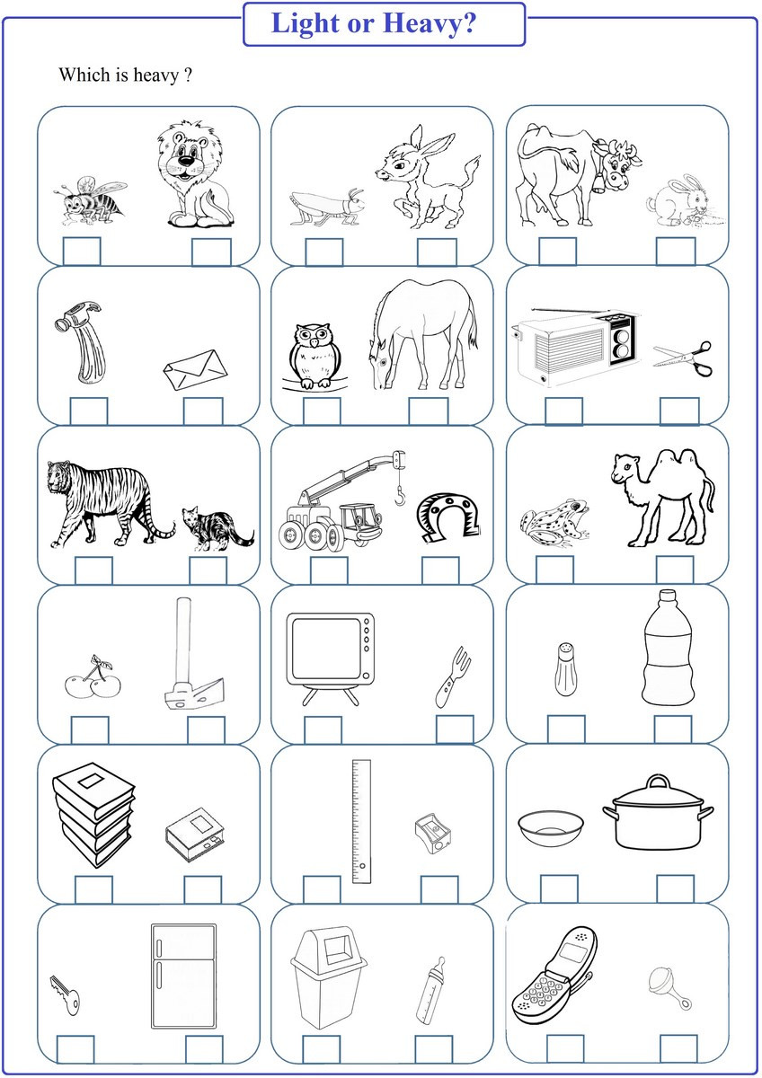 Kindergarten Math Worksheet Pdf Heavy or Light Worksheet Pdf Free Math Worksheets