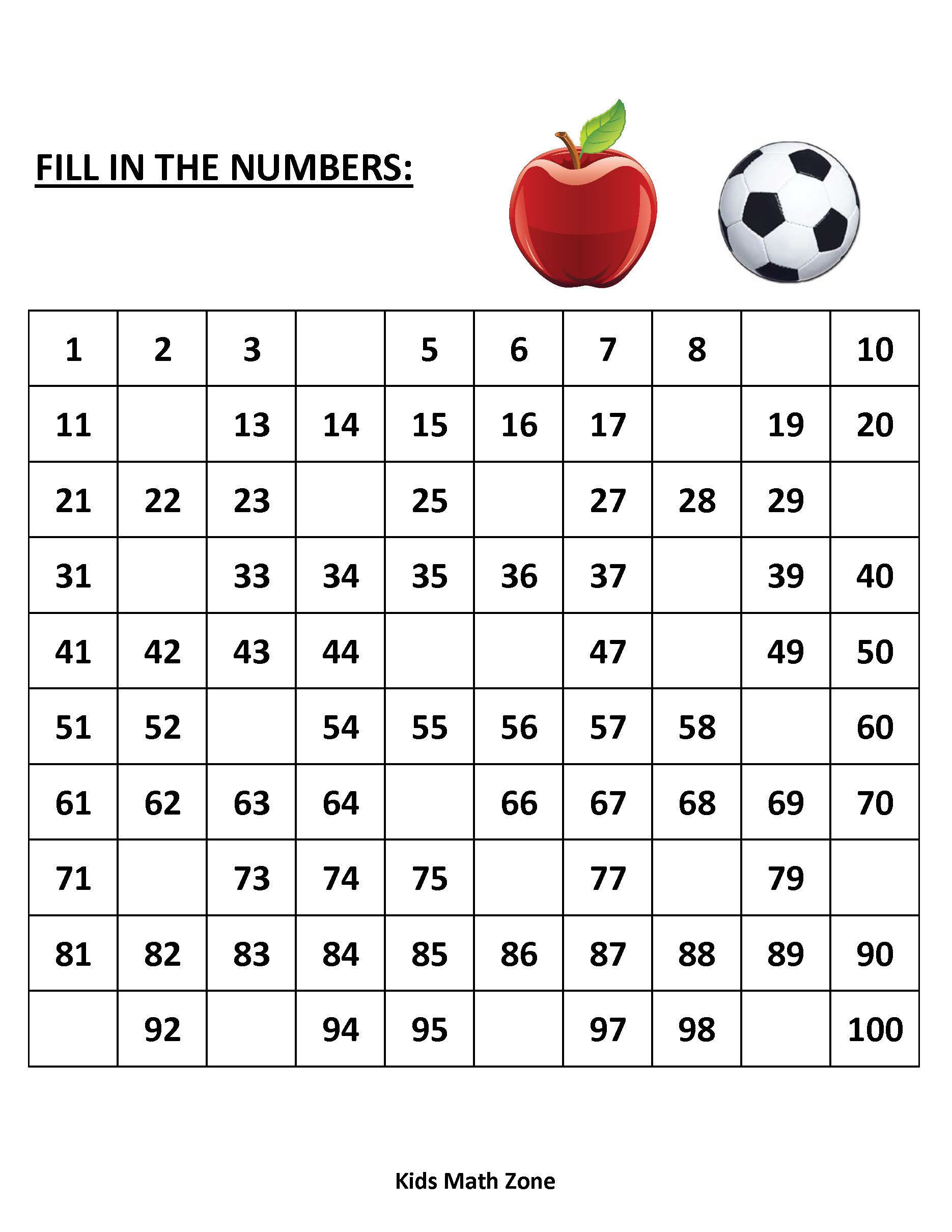 Kindergarten Math Worksheet Pdf Missing Numbers 1 to 100 10 Printable Worksheets Pdf