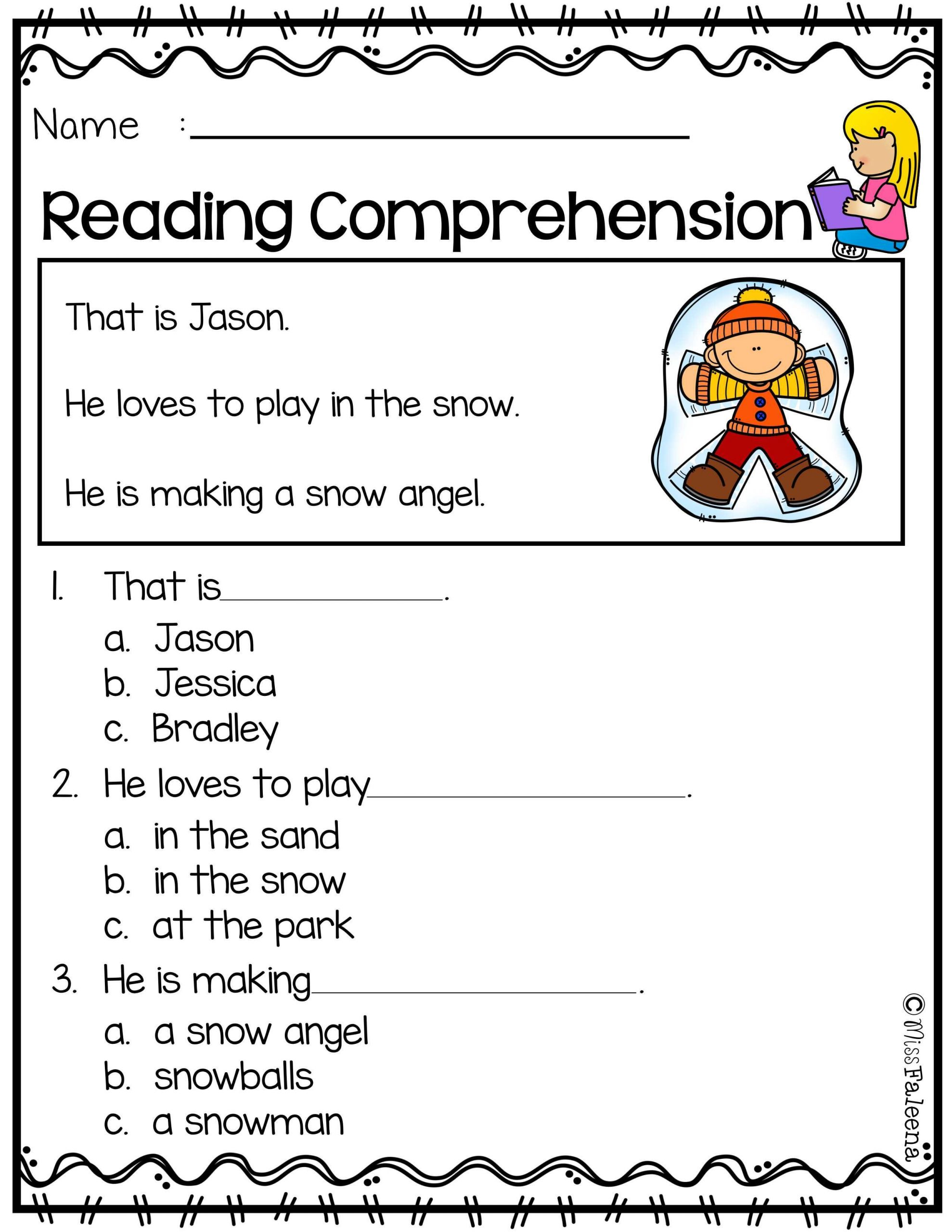 Kindergarten Reading Comprehension Worksheet Free Reading Prehension