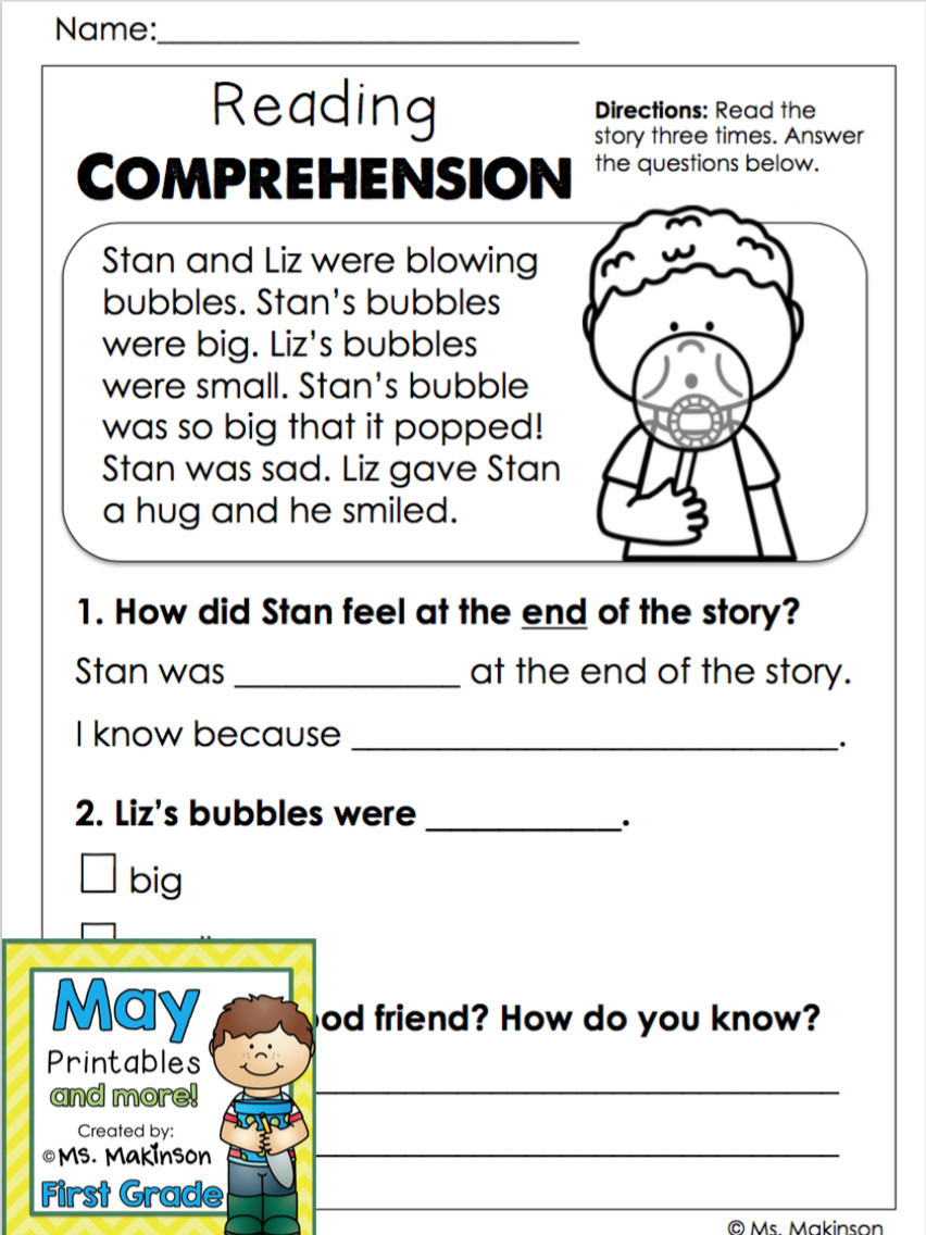 Kindergarten Reading Comprehension Worksheet Math Worksheet Printable Kindergarten Reading Worksheets