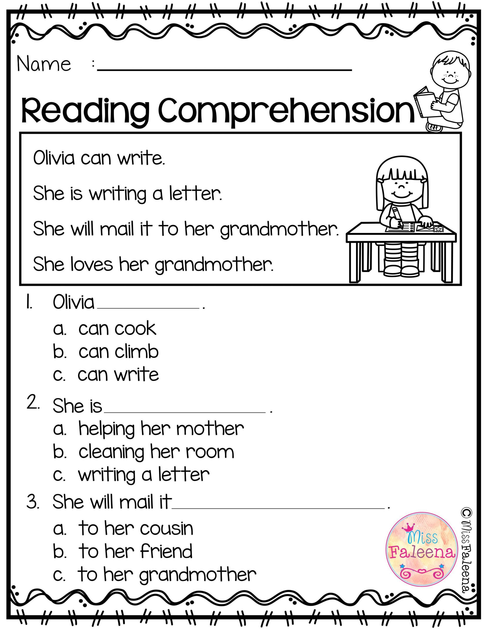 Kindergarten Reading Comprehension Worksheet May Reading Prehension