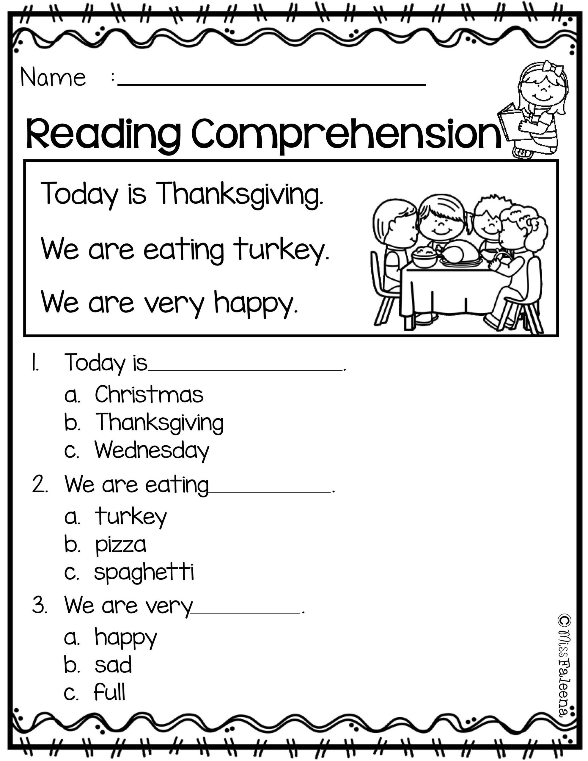 Kindergarten Reading Comprehension Worksheet November Reading Prehension is Suitable for Kindergarten