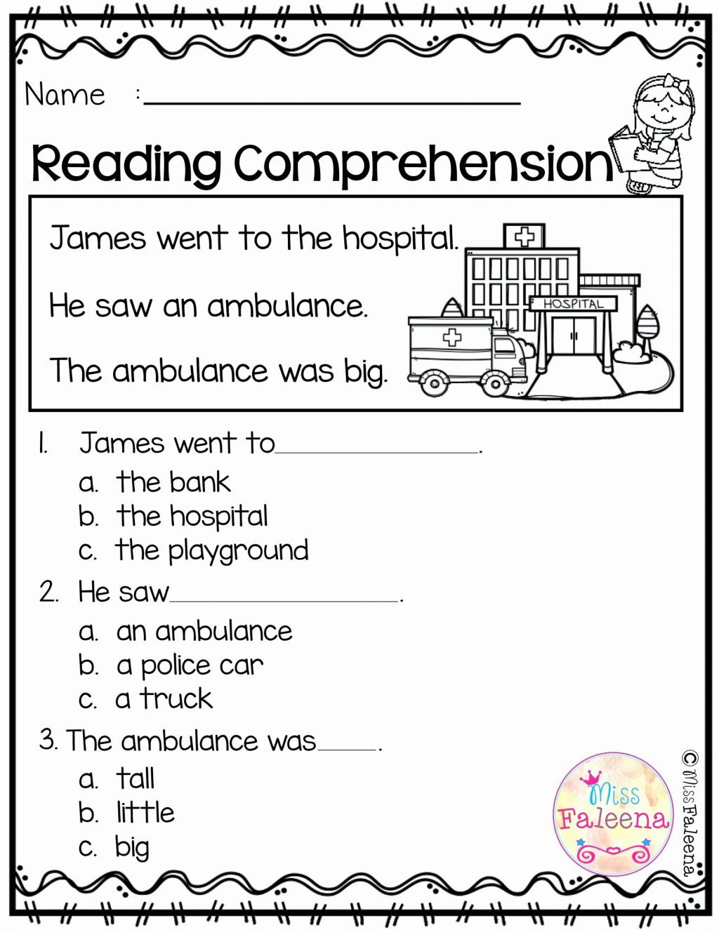 Kindergarten Reading Comprehension Worksheet Worksheet Literacy Worksheets for Kindergarten Freeable
