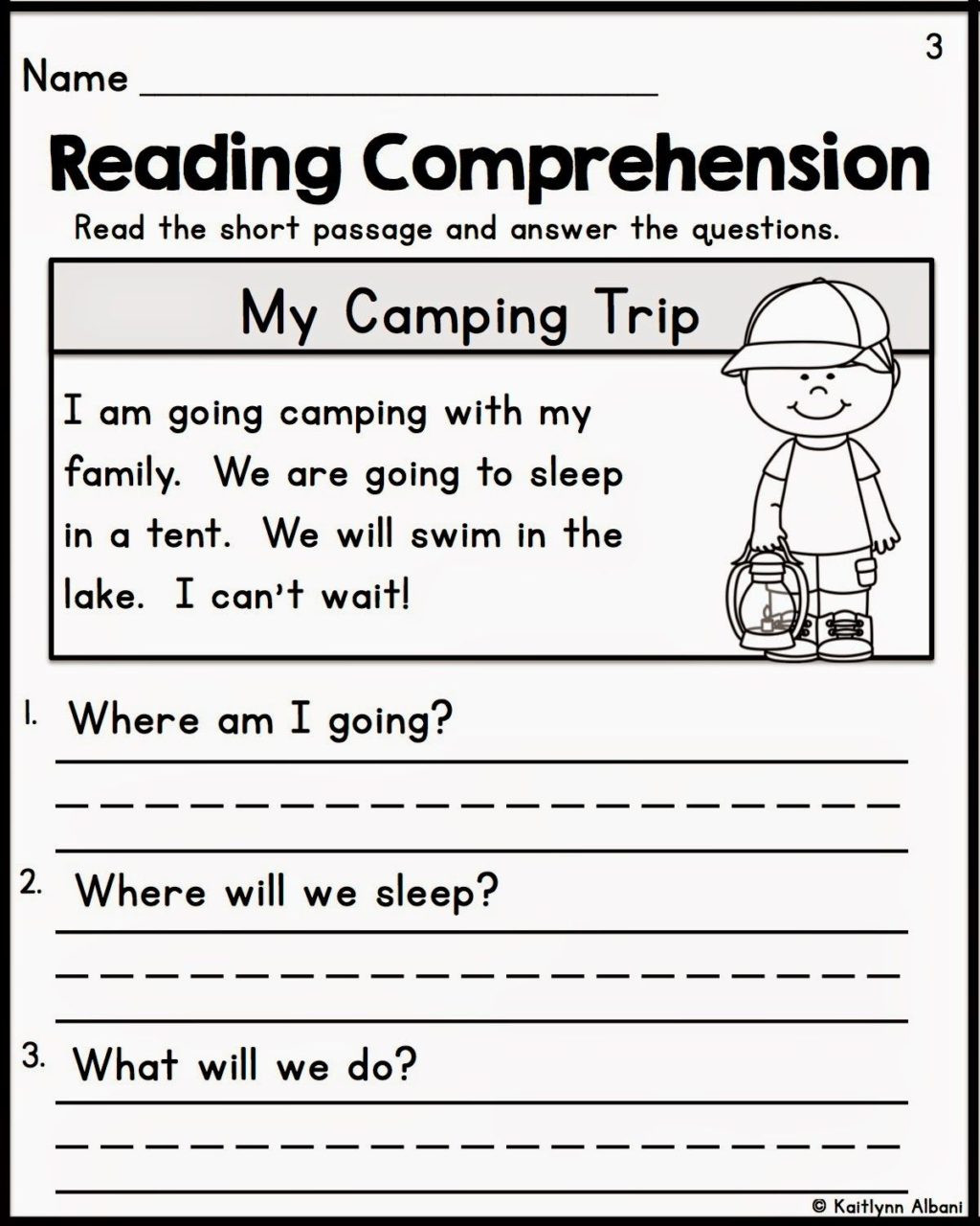 Kindergarten Reading Comprehension Worksheet Worksheet Printable Kindergarten Worksheets Reading