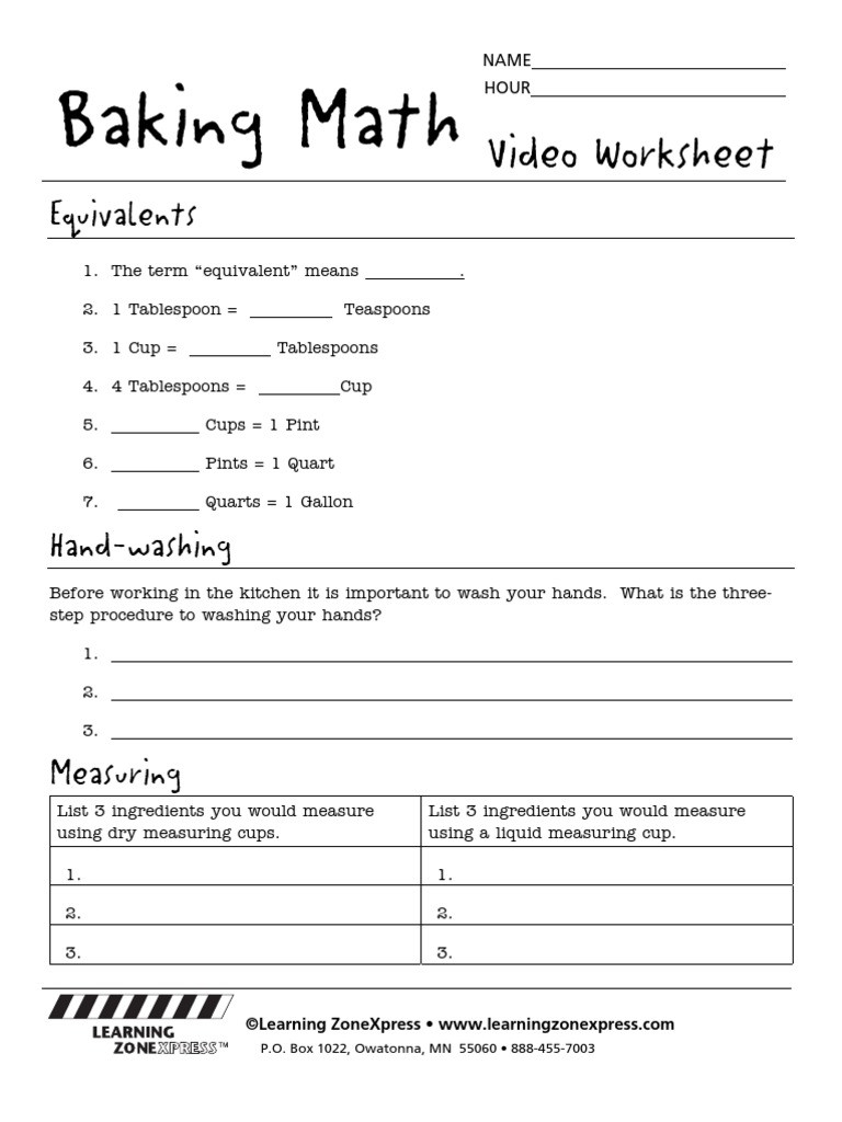 Kitchen Math Measuring Worksheet 3319 Baking Math Worksheet Teaspoon