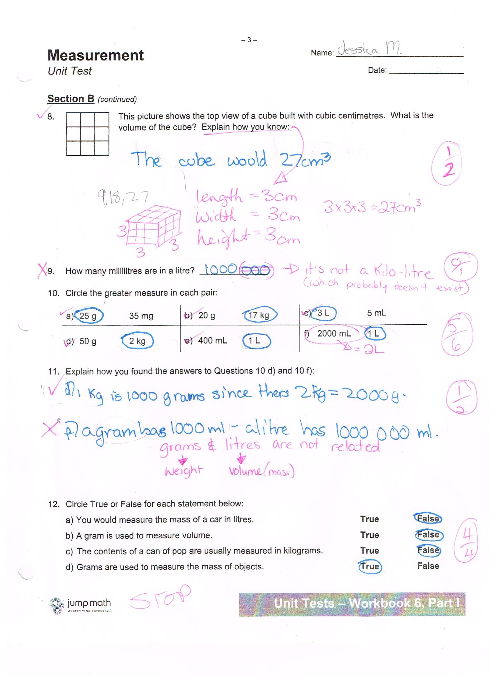 Kitchen Math Measuring Worksheet Jump Math Measurement Unit Test Jessica School Work Projects