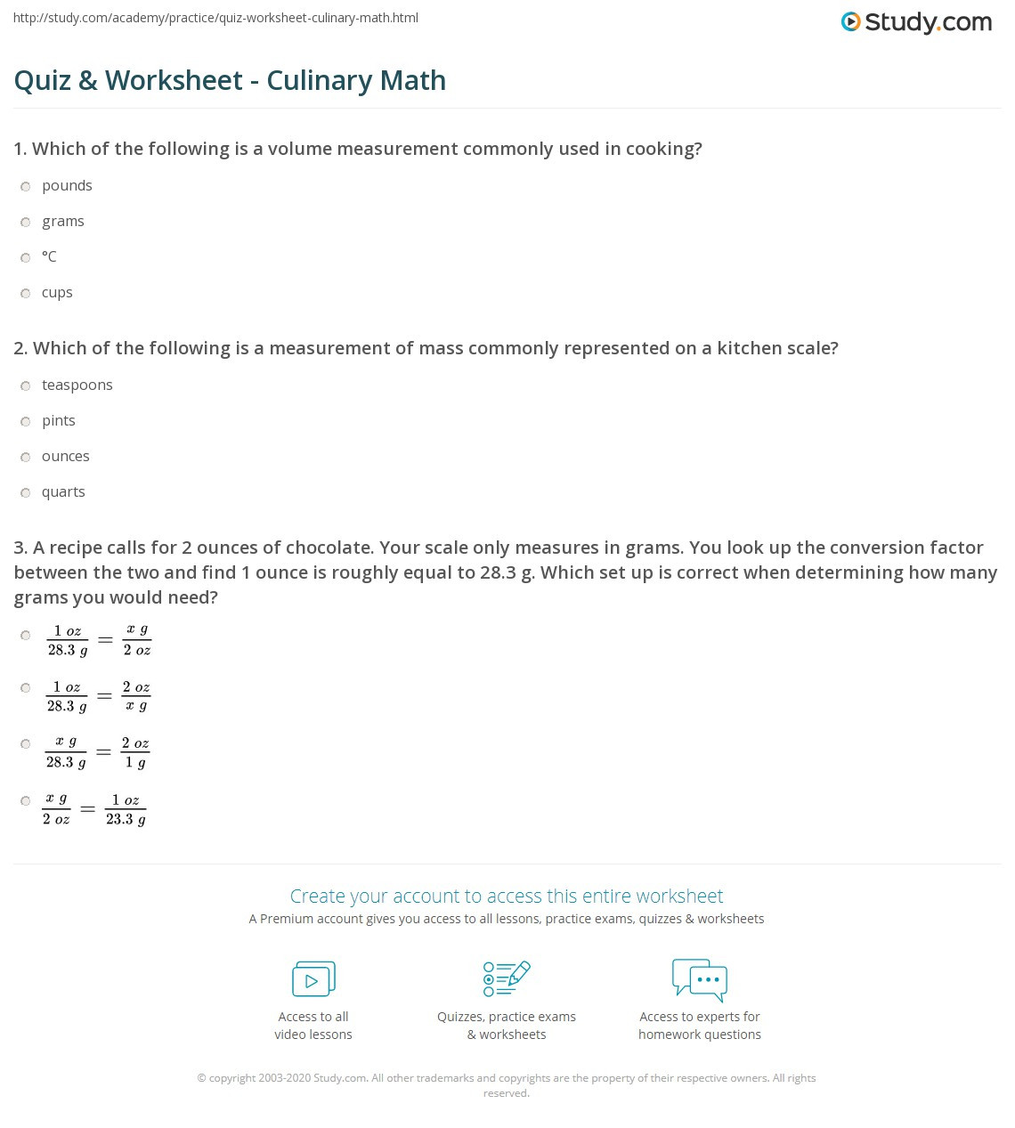Kitchen Math Measuring Worksheet Quiz & Worksheet Culinary Math