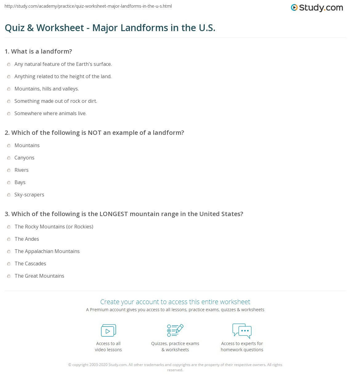 Landforms Worksheet Middle School Quiz & Worksheet Major Landforms In the U S