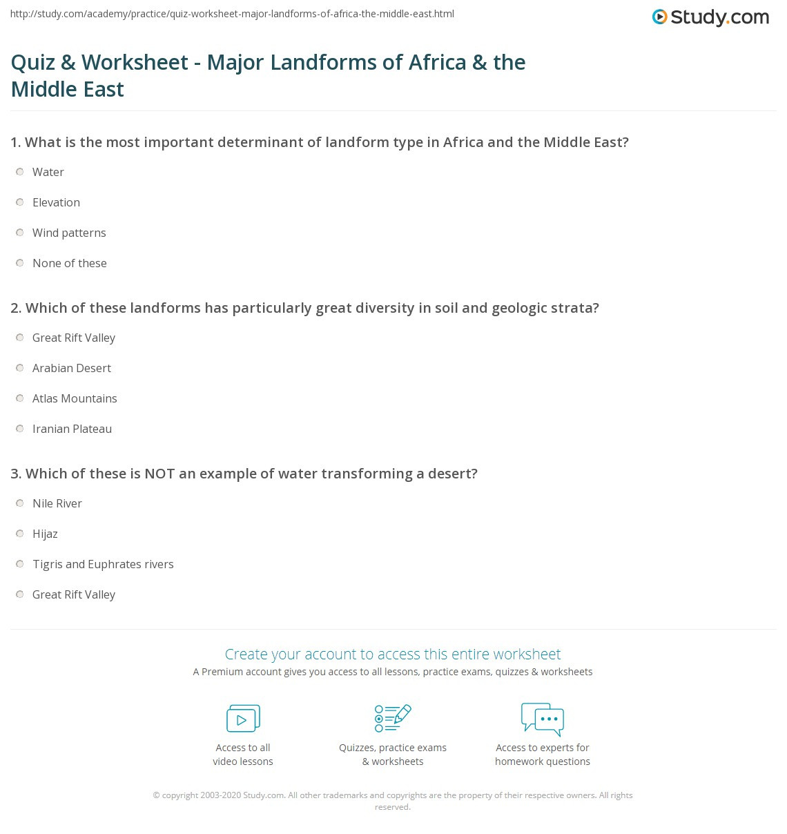 Landforms Worksheet Middle School Quiz & Worksheet Major Landforms Of Africa & the Middle