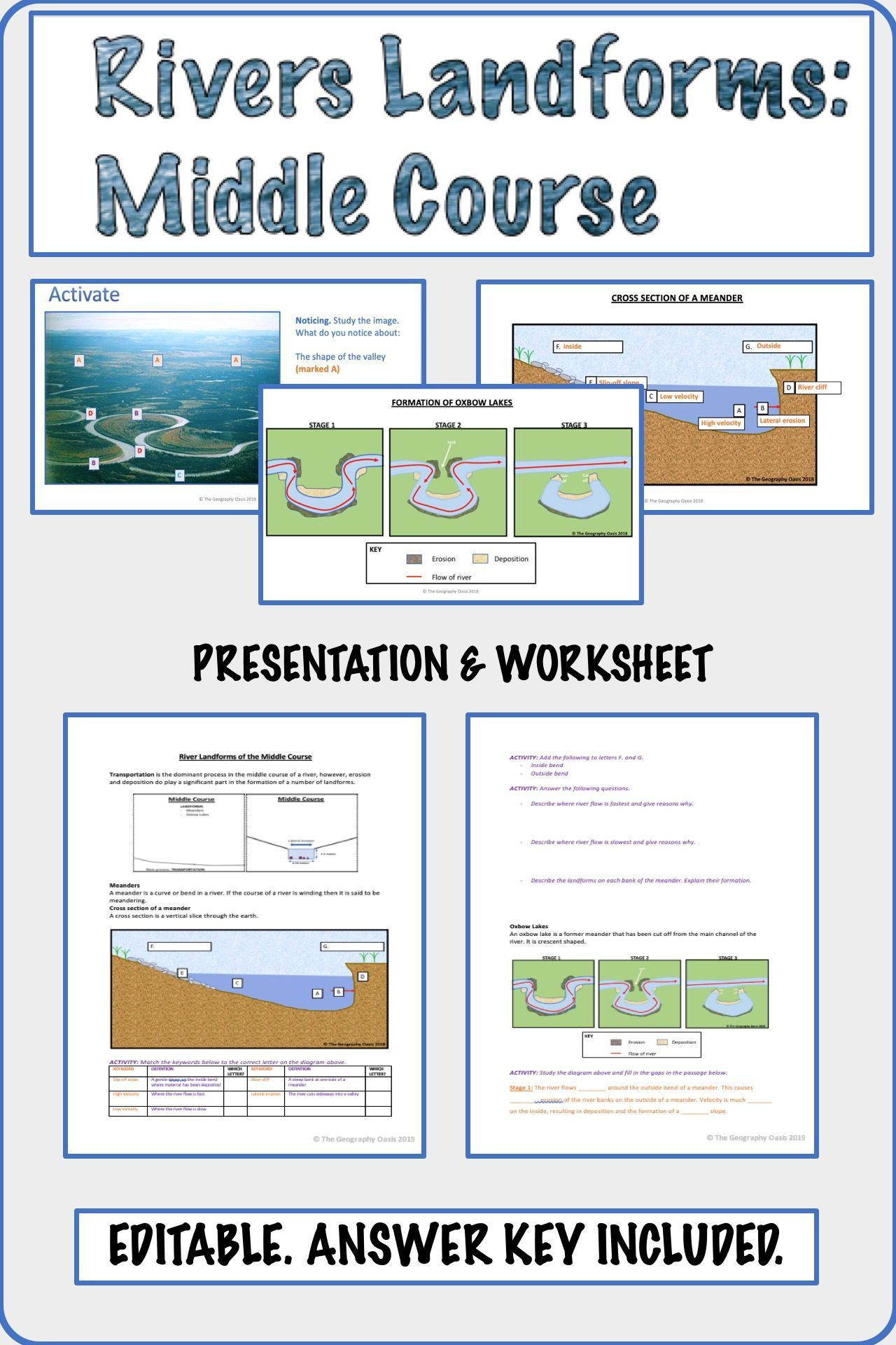 Landforms Worksheet Middle School River Landforms Of the Middle Course Meanders and Oxbow
