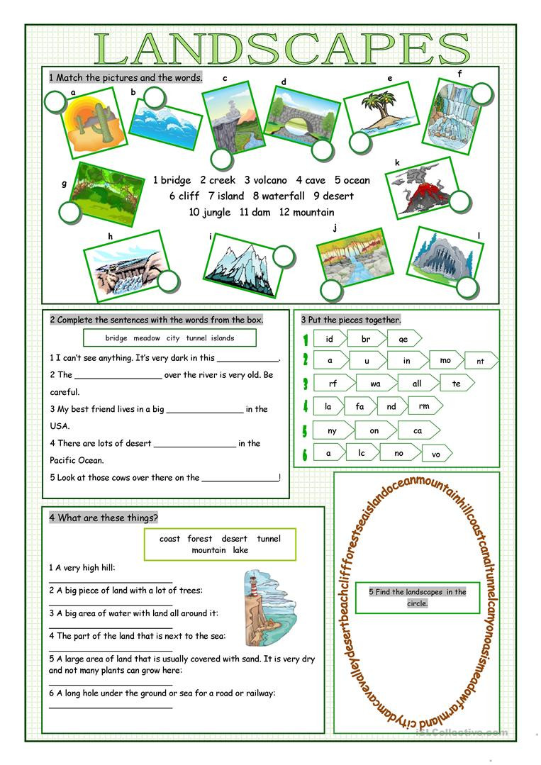 Landforms Worksheets for 5th Grade English Esl Landscapes Worksheets Most Ed 19 Results