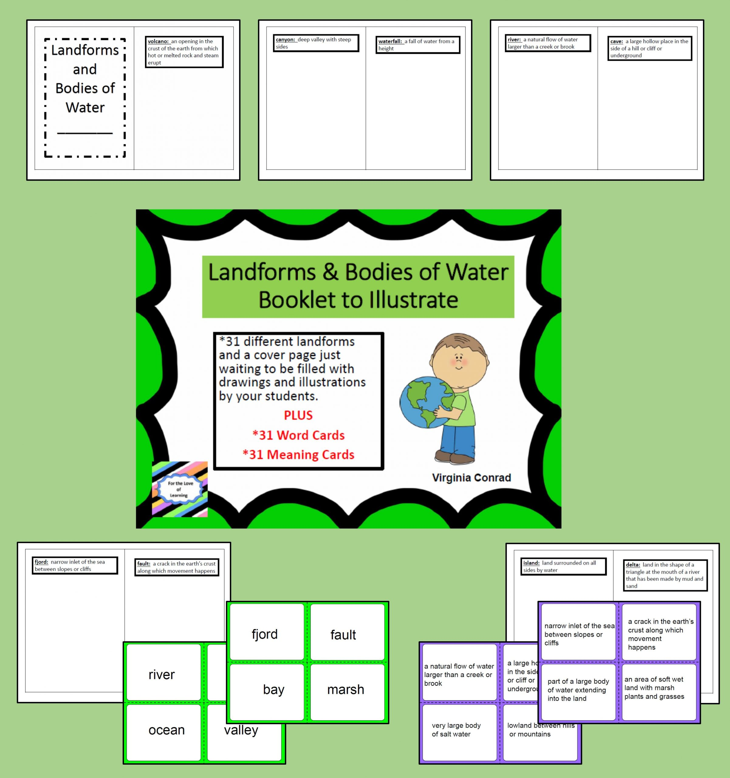 Landforms Worksheets for 5th Grade Landforms and Bo S Of Water Booklet to Illustrate and
