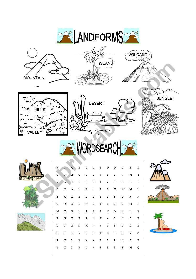Landforms Worksheets for 5th Grade Landforms Esl Worksheet by Evaramos