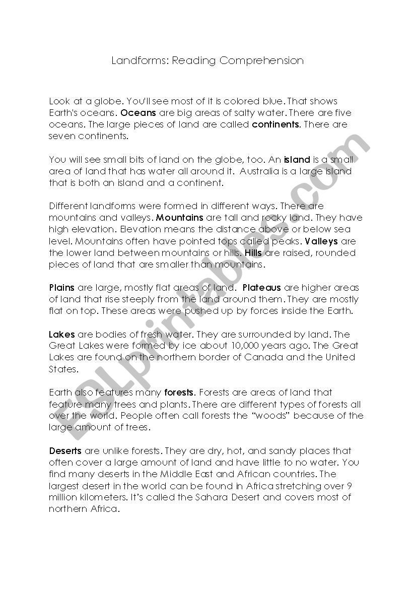 Landforms Worksheets for 5th Grade Landforms Reading Prehension Esl Worksheet by Misstanya