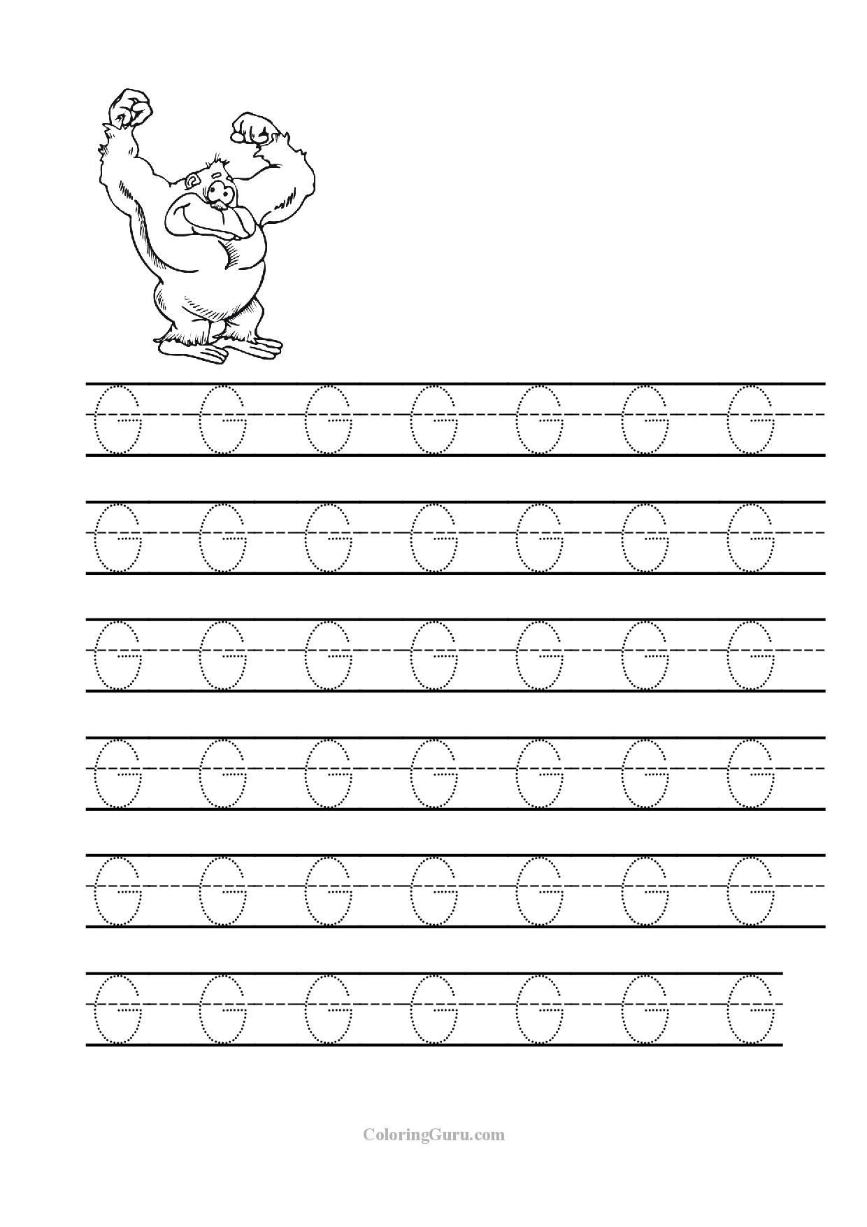 Letter G Tracing Worksheets Preschool Free Printable Tracing Letter G Worksheets for Preschool