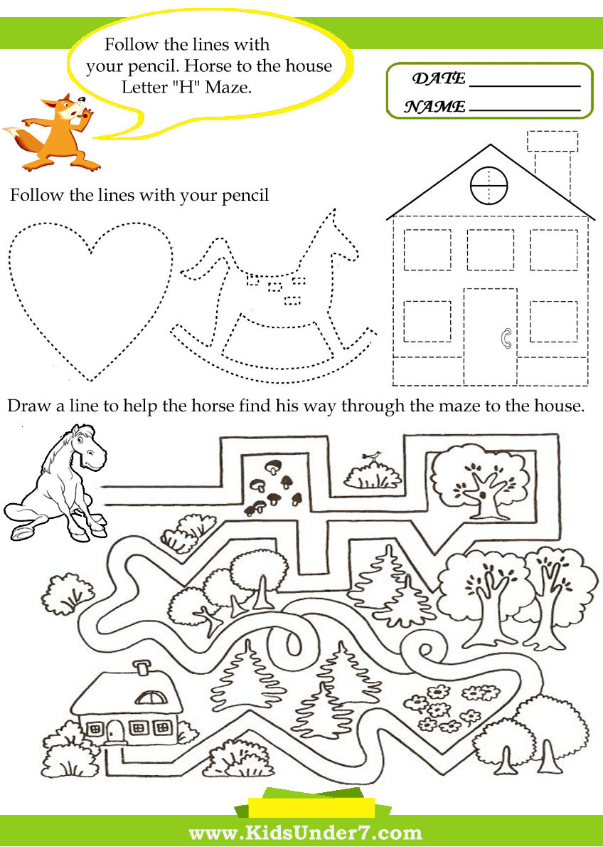 Letter H Worksheets for Preschool Kids Under 7 Letter H Worksheets