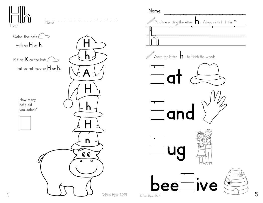 Letter H Worksheets for Preschool Letter H Worksheet Learning My Letters Booklet by Pam Hyer