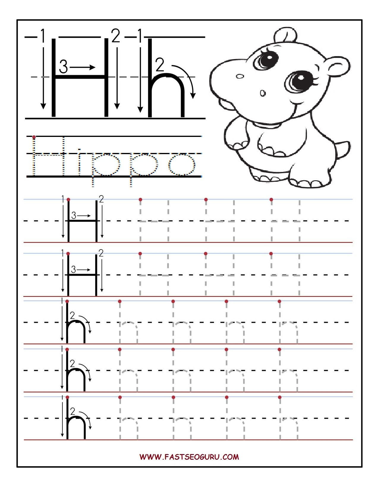 Letter H Worksheets for Preschool Printable Letter H Tracing Worksheets for Preschool