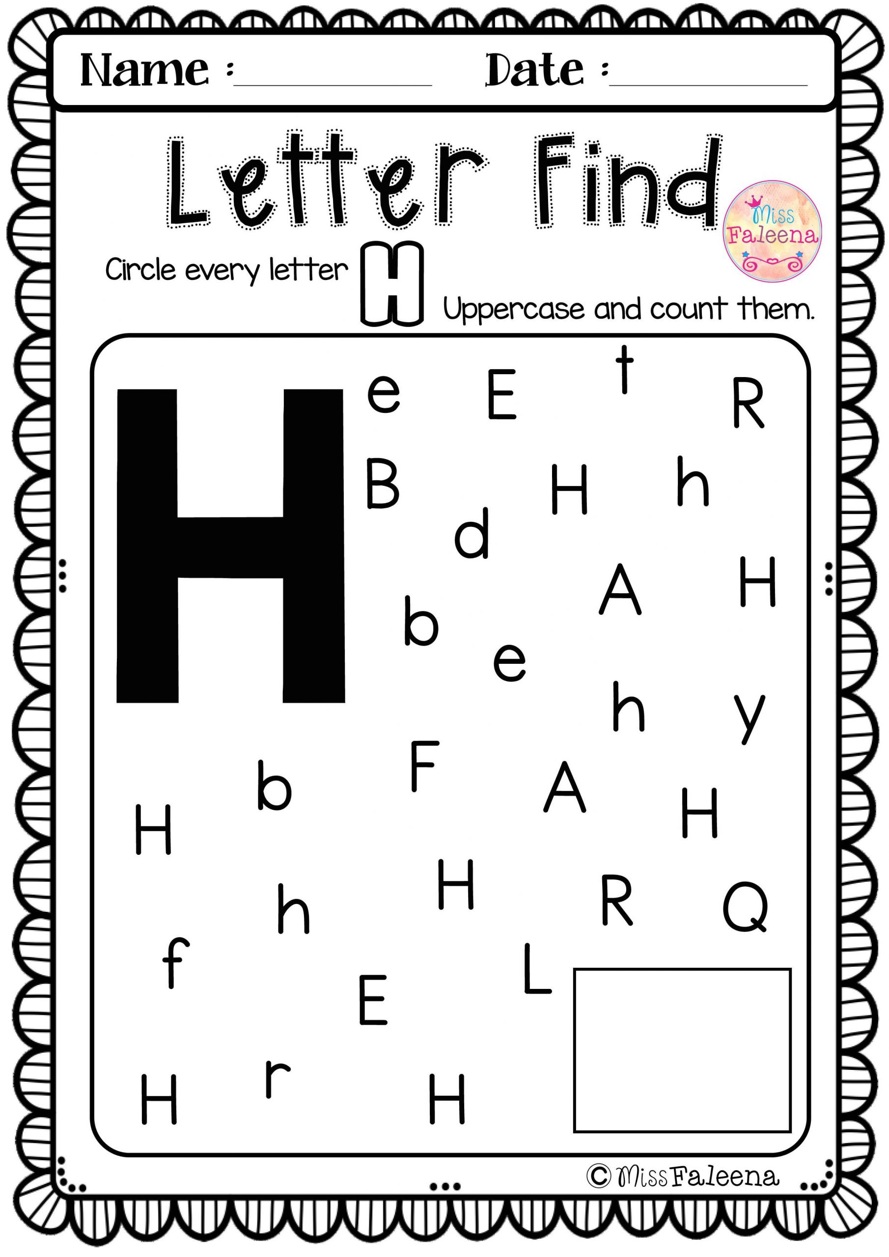 Letter H Worksheets Preschool Alphabet Letter Of the Week H