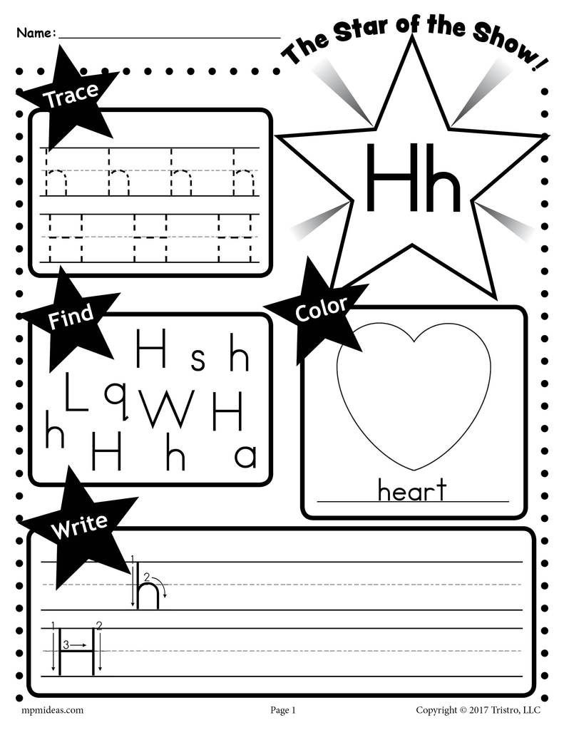 Letter H Worksheets Preschool Letter H Worksheet Tracing Coloring Writing & More