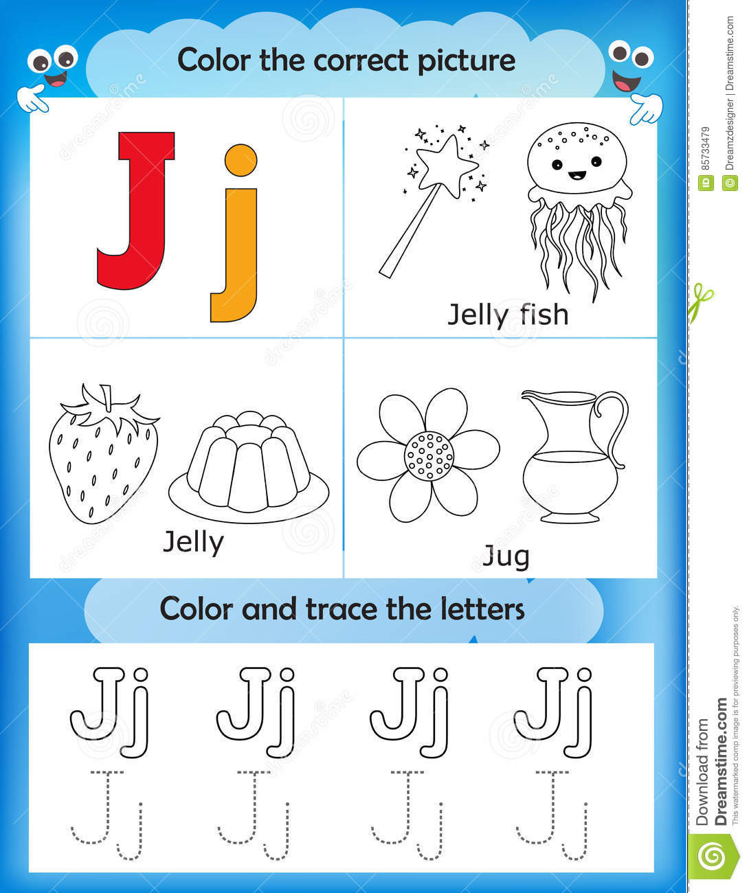 Letter J Worksheets for Preschool Alphabet Learning and Color Letter J Stock Illustration