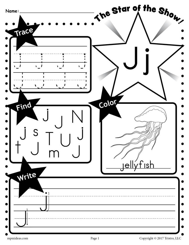 Letter J Worksheets for Preschool Letter J Worksheet Tracing Coloring Writing & More