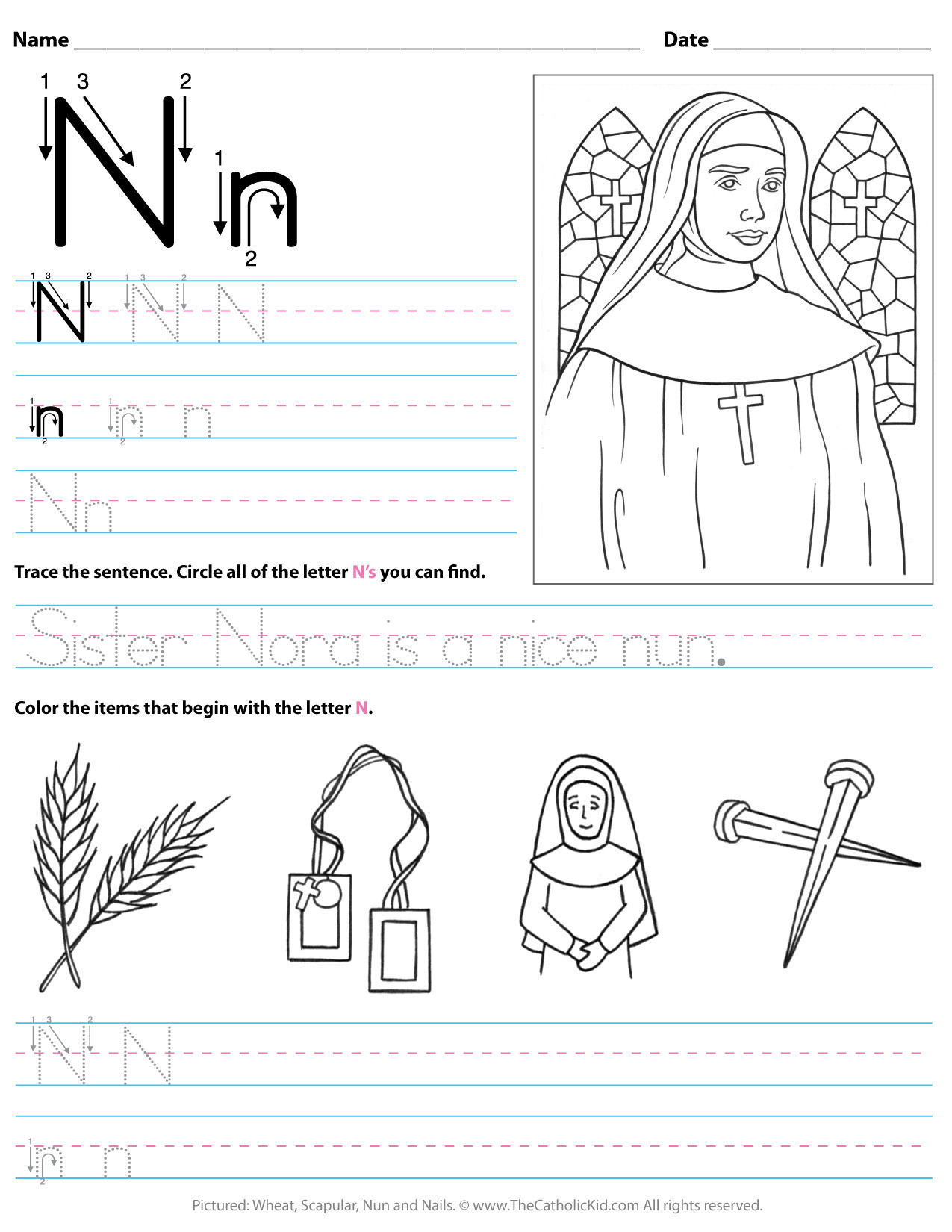 Letter N Worksheets for Preschool Catholic Alphabet Letter N Worksheet Preschool Kindergarten