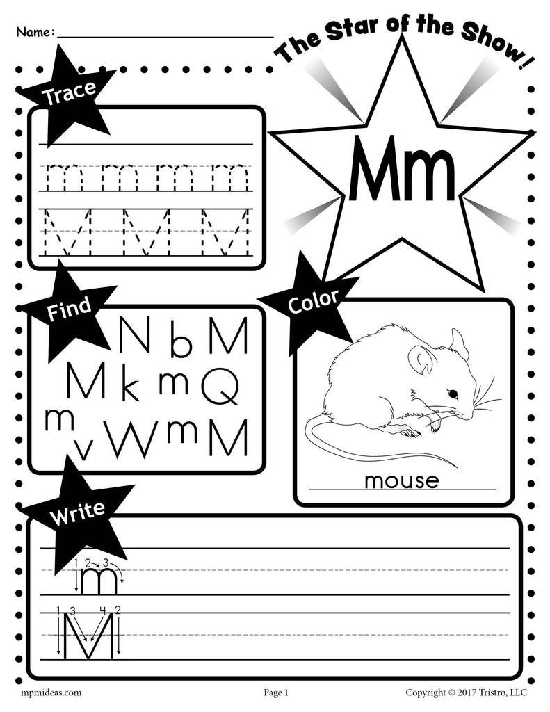 Letter N Worksheets for Preschool Letter M Worksheet Tracing Coloring Writing & More