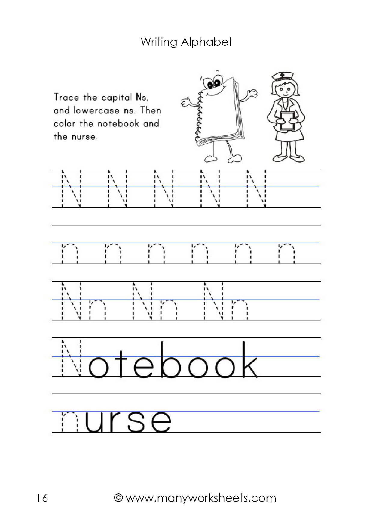 Letter N Worksheets for Preschool Letter N Worksheet – Tracing and Handwriting