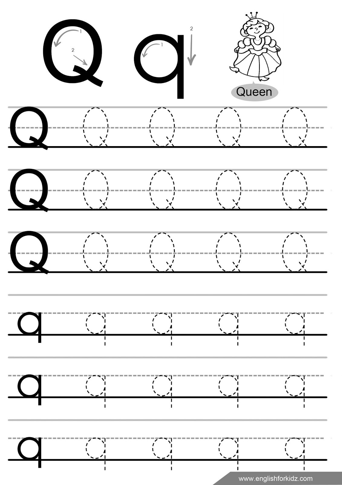 Letter Q Worksheets for Preschool Letter Tracing Worksheets Letters K T