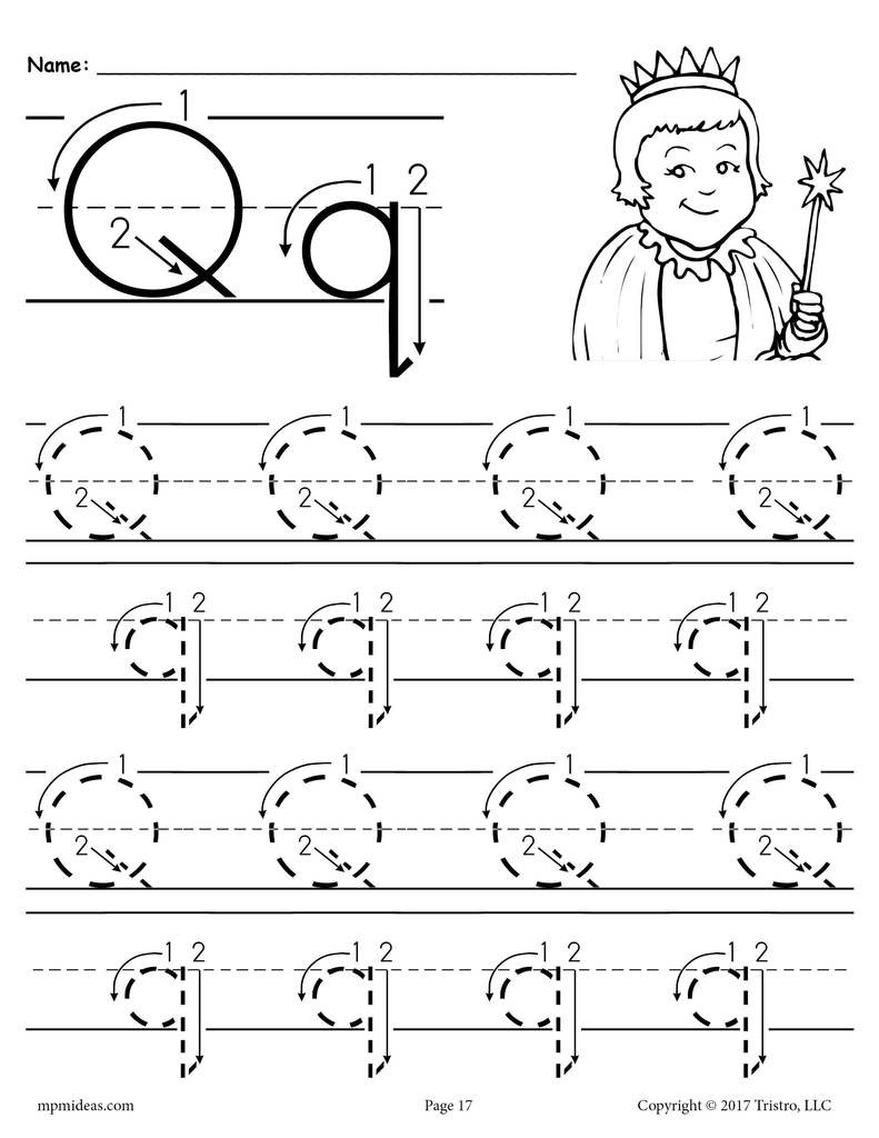 Letter Q Worksheets for Preschool Printable Letter Q Tracing Worksheet with Number and Arrow Guides