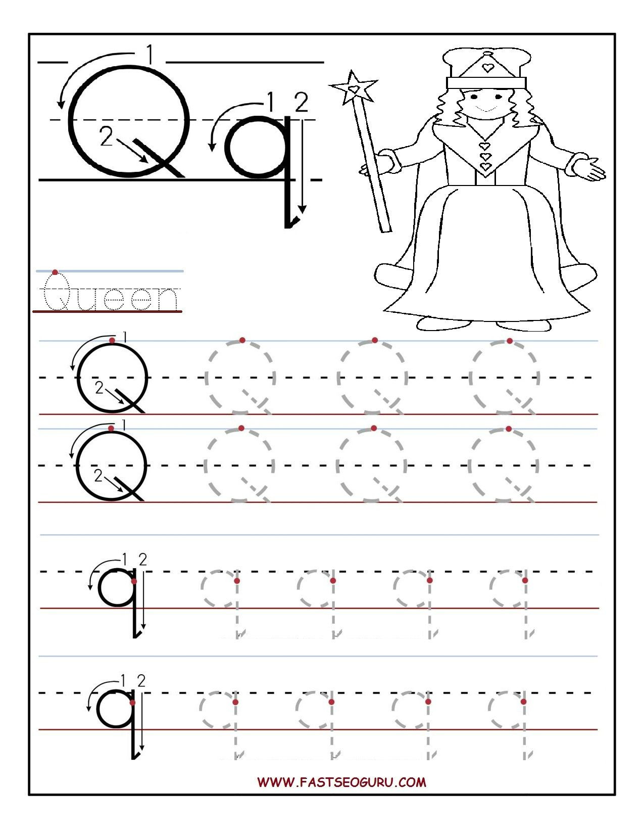 Letter Q Worksheets for Preschool Printable Letter Q Tracing Worksheets for Preschool