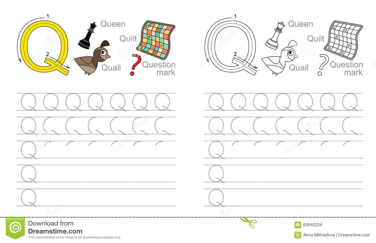 Letter Q Worksheets for Preschool Tracing Worksheet for Letter Q Stock Vector Illustration