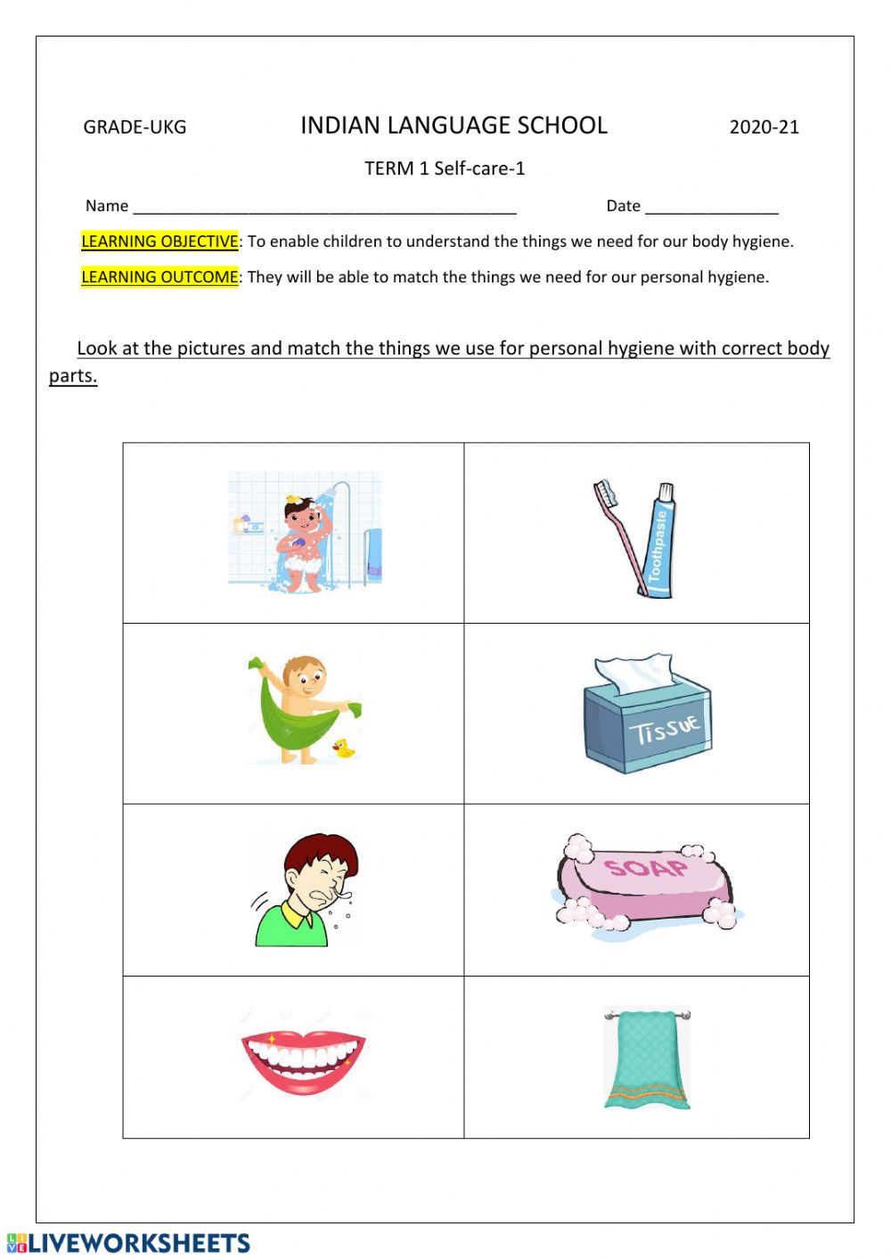 Life Skills for Adults Worksheets Self Care 1 Interactive Worksheet