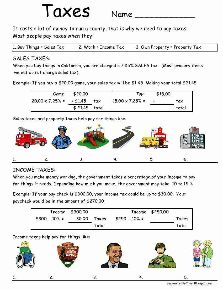 Life Skills for Adults Worksheets Taxes Worksheet Idea