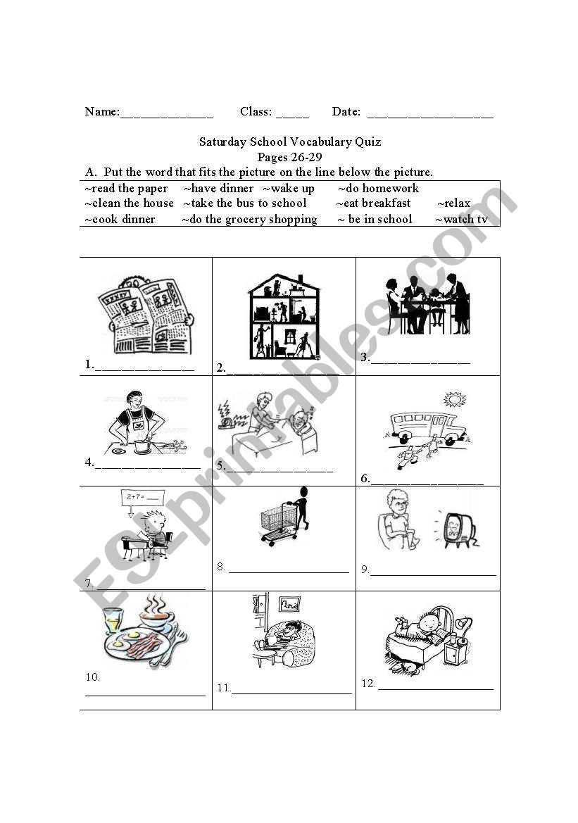 Life Skills Vocabulary Worksheets Daily Activities Life events Esl Worksheet by Jordan