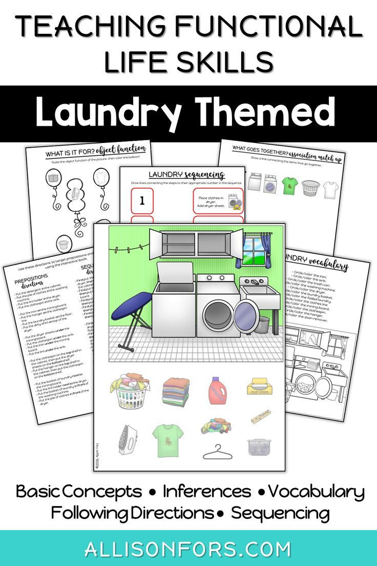Life Skills Vocabulary Worksheets Life Skills Interactive Book Laundry