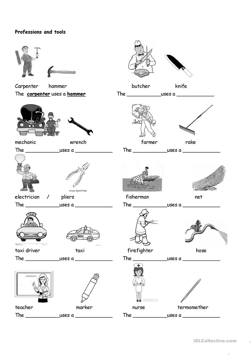 Life Skills Vocabulary Worksheets Professions and tools